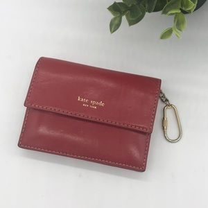 Kate Spade Leather Card Holder Wallet Keyring Red